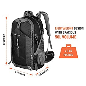 OutdoorMaster Hiking Backpack 50L - Weekend Pack w/Waterproof Rain Cover & Laptop Compartment - for Camping, Travel, Hiking (Black/Grey)