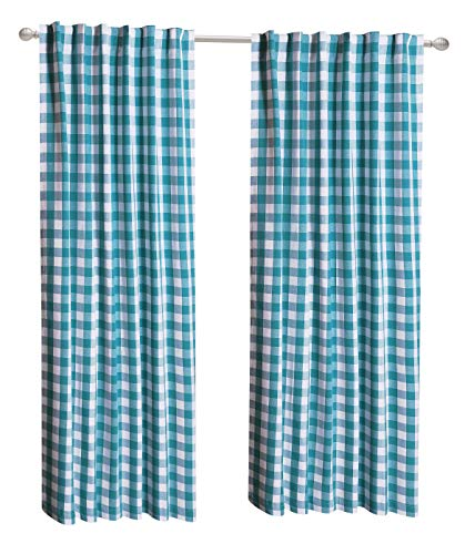 - CottonLin 2Pack Buffalo Check tab top Reverse Curtain panels-50x84 - Teal/White