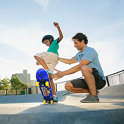 Xmas Gifts for Boys /& Girls FunlittleToy B.Duck 24 Inch Skateboard for Beginner Double Kick Concave Complete Skateboard 9 Layer Canadian Maple Wood