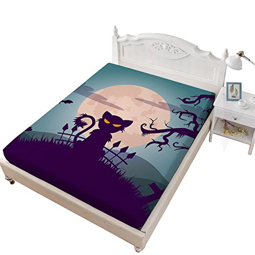 VITALE Bedding Fitted Sheet Queen Size, Halloween Printed Queen Size Sheet, Cartoon Black Cat Printed 1 Piece Queen Size Deep Pocket Fitted Sheet Girl's Bedding Decor ()