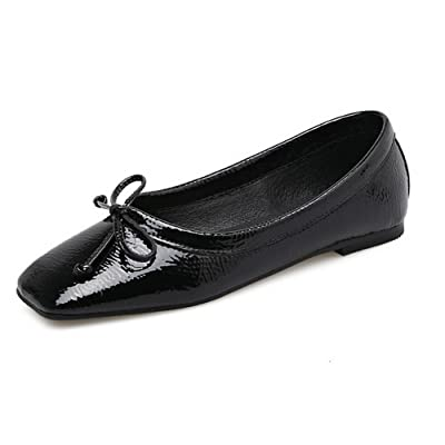 1TO9 Womens Bows Low-Cut Uppers Square-Toe Urethane Flats Shoes