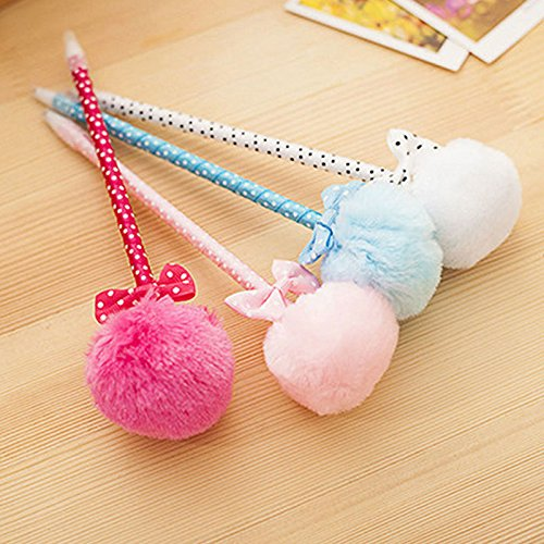 4X Cute Pom Pom Ball Ballpoint Pen Student Office Stationery Gift - Discount Uk Shops Student