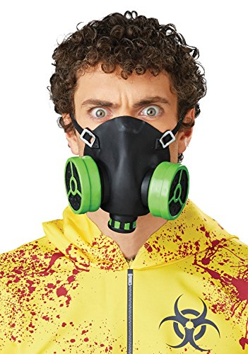 UHC Men's Latex Chemical Biohazard Gas Halloween Costume Face Mask, Half (Black Person Halloween Costume)