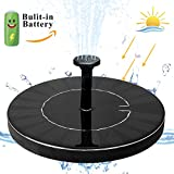 jerayley Fountain Pumps Solar Fountain Water Pump 1.5W Free Standing Bird Bath Fountain Pump with Battery Built-in
