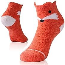 Workout Cute Socks,Vive Bears Womens Girls Soft Plush Cozy Animal Anti Slip Indoor Crew Socks