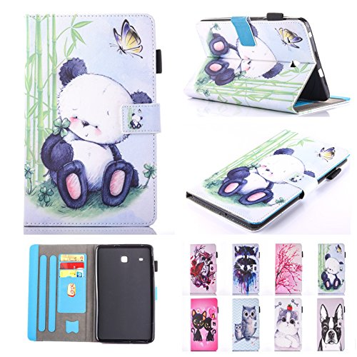 Chgdss T377 Case,T375 case, Galaxy Tab E 8.0 Case, Full Body Protection PU Leather Folio Function Wallet, Multi-Angle Viewing /Card Slots, for Samsung Galaxy Tab E 8.0 SM-T375/T377,Panda by Chgdss