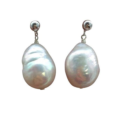 Akoya Pearl Earrings Handmade Real Pearl Silver Drops Large Baroque Pearl Elegant Bridal Silver Earrings Classic Natural Nearly White