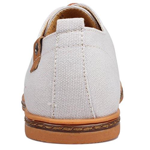 Kunsto Men's Canvas Oxford Shoes Lace up US Size 9.5 Light Grey