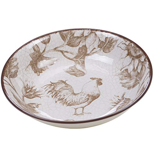 Certified International Toile Rooster Serving/Pasta Bowl 13