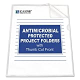 C-Line 62137 Antimicrobial Project Folders, Jacket, Letter, Polypropylene, Clear, 25/Box