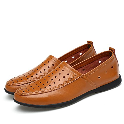 Hongjun 40 Hombre Plantilla Style Brown Light Mocasines Cuero Slip 2018 Breathable de para Gamuza tamaño Color mocasín shoes EU de los on Mocasines Genuino Hombres ggqZr4nwA