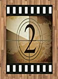 Ambesonne Movie Theater Area Rug, Countdown Screen Illustration with Number 2 on Grunge Background, Flat Woven Accent Rug for Living Room Bedroom Dining Room, 4 X 5.7 FT, Pale Brown Black White