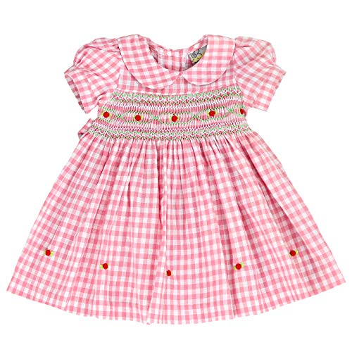 sissymini- Infant & Toddler Gingham Hand Smocked Dress Precious in Pink - 12M