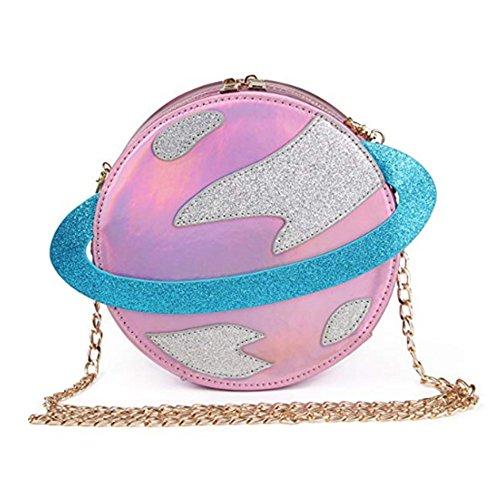 Ahoody Stunning Circular Planet Party Bag Women Laser Planet Orbit Bag Shoulder Bag  Onesize  Pink