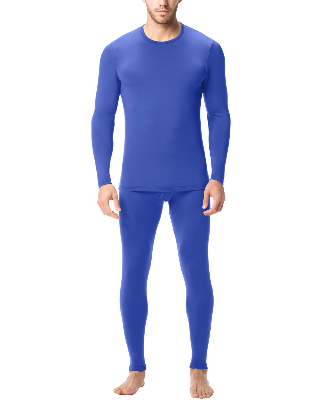 LAPASA Men's Lightweight Thermal Underwear Long John Set Fleece Lined Base Layer Top and Bottom M11 (XX-Large, Blue) by LAPASA