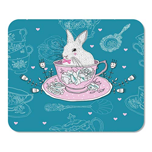 Lace Teaspoon - Suike Mousepad Computer Notepad Office Pink Afternoon Tea Cups Teapot Teaspoons Rabbit Easter Bunny Home School Game Player Computer Worker 9.5x7.9 Inch