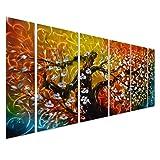"Gigantic Tree of Life Metal Wall Art Decor - Large Abstract Artwork Set of 6 Panels - 65"" x 24"""
