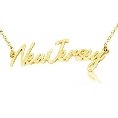 Amazon azaggi gold plated sterling silver handcrafted new amazon azaggi gold plated sterling silver handcrafted new jersey state name pendant necklace 12 jewelry aloadofball Images