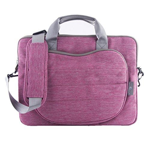 15Inch Notebook Laptop Handbag Canvas Business Shoulder Bag (Pink) - 5