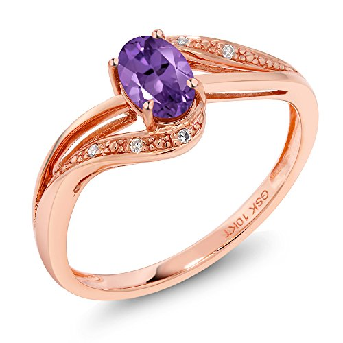 Gem Stone King 10K Rose Gold 0.39 Ct Purple Amethyst and Diamond Engagement Bypass Ring (Bypass Ring) (Size 6) - Gold Amethyst Bypass Ring