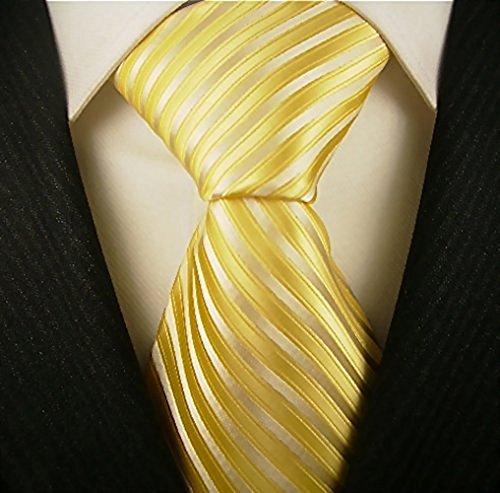 Yellow Striped Silk Necktie - 2