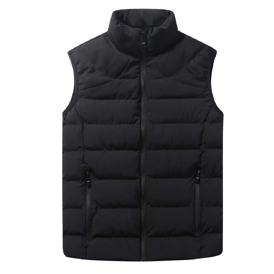 YUNY Mens Corduroy Stand Collar Sleeveless Solid-Colored Puffy Vest