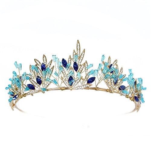 Princess Diadem Blue Crystal Crown Wedding Tiara Bridal Hair Accessories Handmade Bridal Headpiece Women Hair Jewelry 74