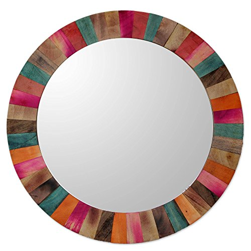 College Wall Mirror (NOVICA Large Rustic Round Mango Wood Wall Mounted Mirror, Multicolor 'Festive Holi')