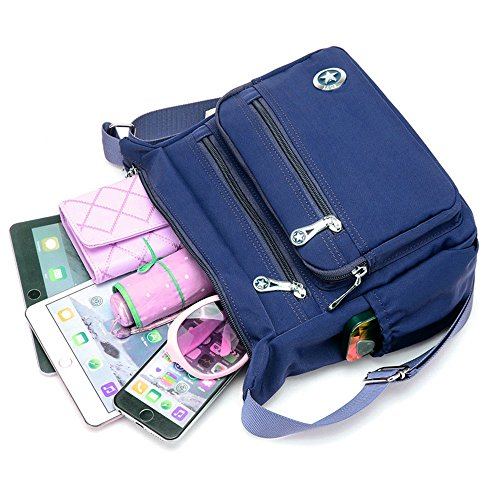 Women Blue Shoulder Casual for Messenger Handbags Waterproof Navy Crossbody Bags Nylon Bags wXxSOxTq