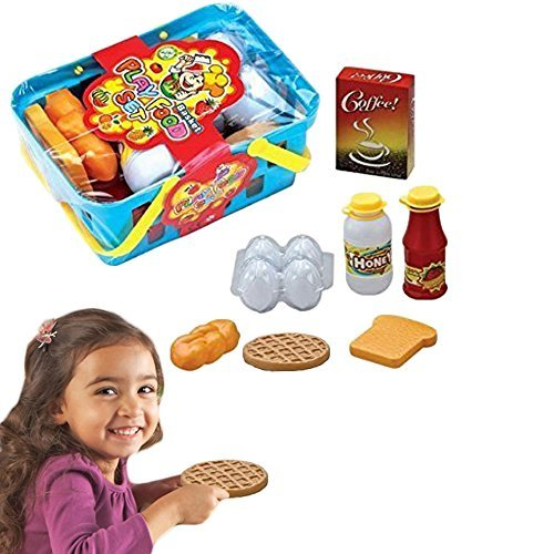 Dazzling Toys Pretend Play Breakfast & Lunch Play Food Set with Basket for Kids - 10 Piece Set (Kids Food Baskets)