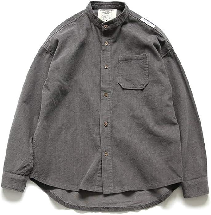 4a429f2e7fa1 Hao Run Men Plain Corduroy Shirt Stand Collar Casual Long Sleeve Tops Dark  Grey