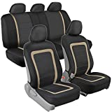 auto armrest covers tan - BDK OneClick Installation Car Seat Covers - Sideless for Airbag and Armrest, Front & Rear Full Interior Seat Covers (Black/Tan Beige)