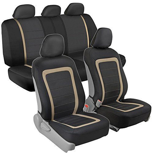 Tan Cover Toyota Interior (Advanced Performance Car Seat Covers - Instant Install Sideless Fronts + Full Interior Set for Auto (Black / Beige))