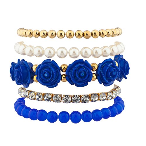 Lux Accessories Blue Rose Floral Flower Pave Crystal Beaded Stretch Arm Candy Bracelet Set