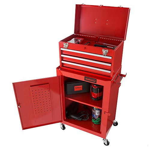 Rolling Tool Box Cabinet, 3 Drawer Portable Storage Chest Tools and Garage Organizer With Wheels and Sliding Drawers By Stalwart (Red) by Stalwart