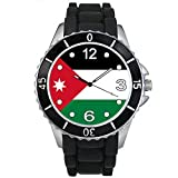 BMSC039 Jordan Country Flag Mens Ladies Unisex Black Jelly Silicone Wrist Watch