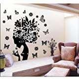 Amaonm Removable Huge Black Romantic Girls Flower Fairy Elf Wall Decals Cute Cartoon Sexy Woman Lady Wall Stickers Murals for Wedding Bedroom Living Room Tv Background Decorations