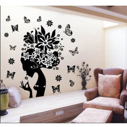 Amaonm Removable Huge Black Romantic Girls Flower Fairy Elf Wall Decals Cute Cartoon Sexy Woman Lady Wall Stickers Murals for Wedding Bedroom Living Room Tv Background ()