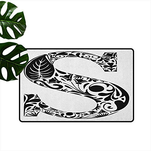 Letter S,Carpet Flooring Natural Floral Design Monochrome Style Uppercase S Letter with Silhouette Blooms 18