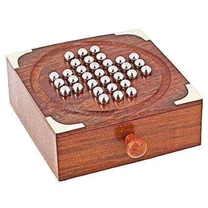 Wooden Handmade Solitaire Set Hand Carved Wooden Puzzle Labyrinth Board Game, Silver Color Beads with Drawer for Storage, Game for Kids and Adults, 6.5 x 5 Inch