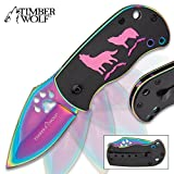Timber Wolf Pack Leader Assisted Opening Pocket Knife Folder – Rainbow Blade Finish, Paw Print Cutout, Flipper, Liner Lock – Black Anodized Handle Howling Wolves Full Moon; Pocket Clip, Lanyard Hole For Sale