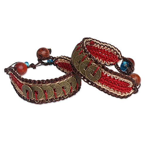 NOVICA Woven Wristband Bracelets with Coins and Wooden Beads, 6