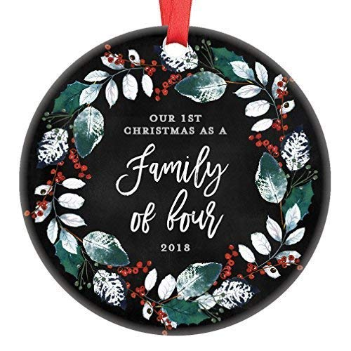 MurielJerome First Christmas as a Family of 4, Ornament 2018 2019, Parents with 2 Children, 2nd Child Pregnancy PresentKeepsake Present