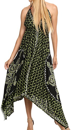 (Sakkas 1456 - Shana Batik Embroidered Handkerchief Hem Adjustable Halter Dress - Black/Green -)