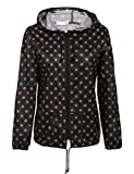 cosway Womens Waterproof Rainwear Lightweight Hoodie Raincoat Outdoor Sport Jacket,Black Brown,Medium