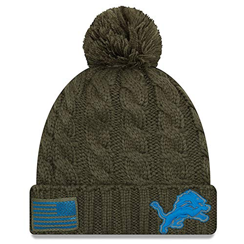 New Era Women 2018 Salute to Service Sideline Cuffed Knit Hat - Olive (Detroit Lions)