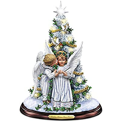 Sandra Kuck Mistletoe Kisses From Heaven Illuminated Tabletop Tree With Angels by The Bradford Exchange