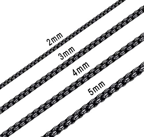(Bowisheet 5MM Black Square Rolo Chain Stainless Steel Round Box Chain Necklace Men Women Jewelry)