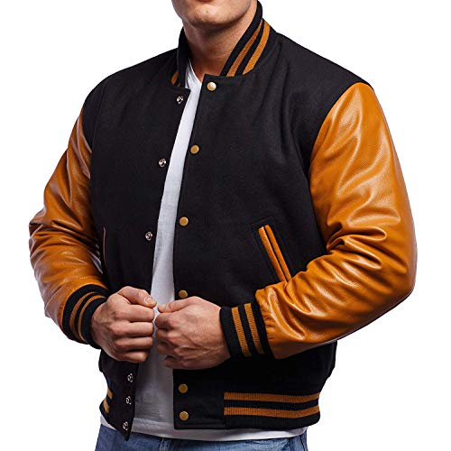 Xstreamline Unisex Letterman Melton Wool Body & Premium Leather Sleeves Varsity Bomber Jacket - Black & Gold - Large