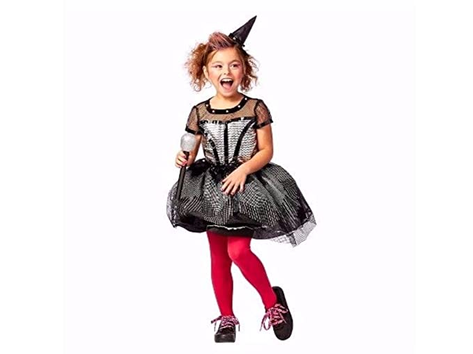 kids rock star witch halloween costume includes dress mini hat headband and microphone size